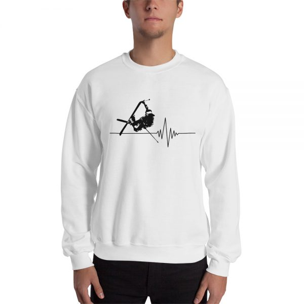 sweat homme blanc skieur freestyle